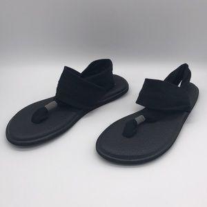 Sanuk Yoga Sling Sandals Black Sz 9